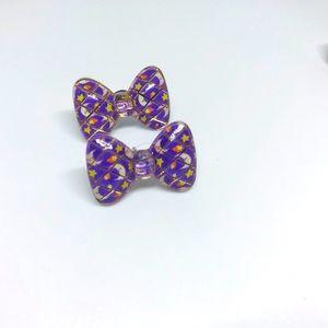 Moon Stars Kawaii Bow Handmade Stud Earrings